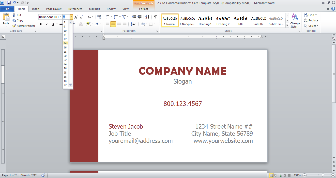changing font size in MS Word