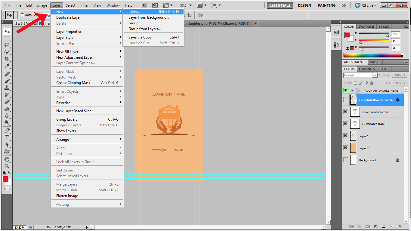 creating new layer in Photoshop